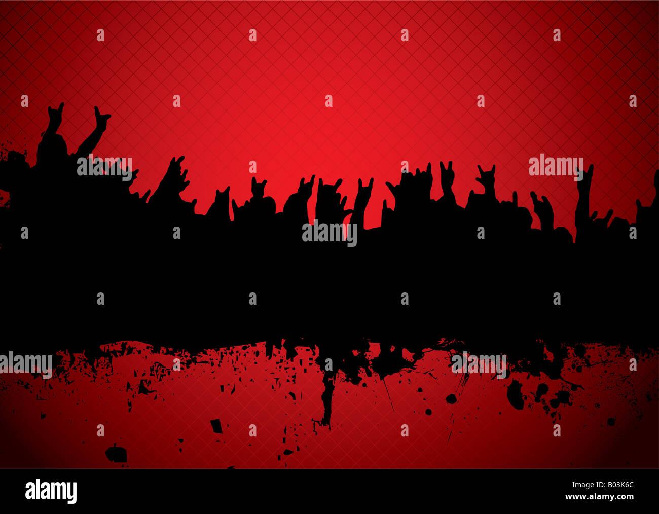 rote und schwarze Silhouette ein Rock-Konzert-Publikum Stockbild
