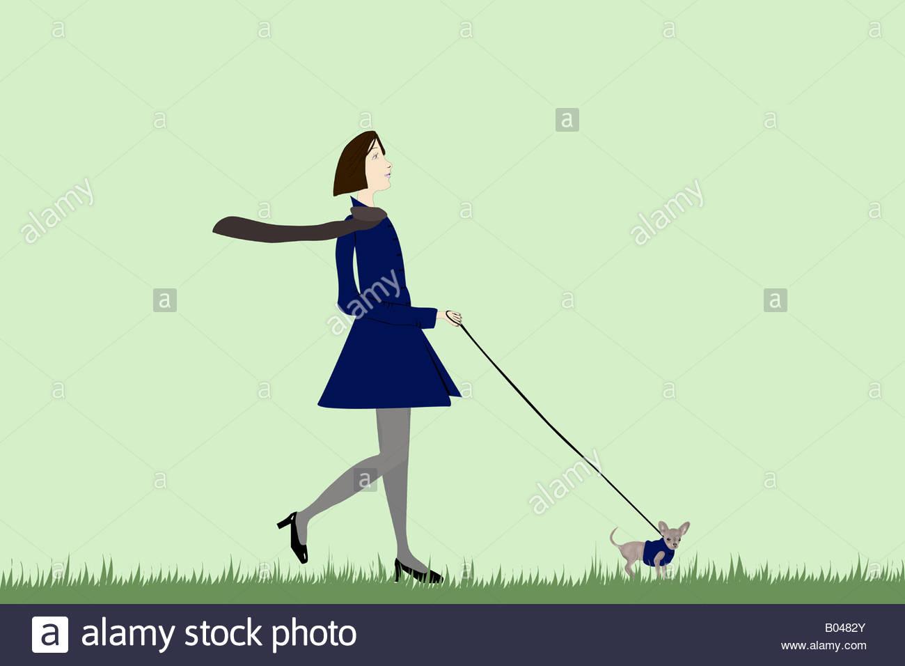 Abbildung einer Frau, die einen Hund spazieren gehen Stockbild