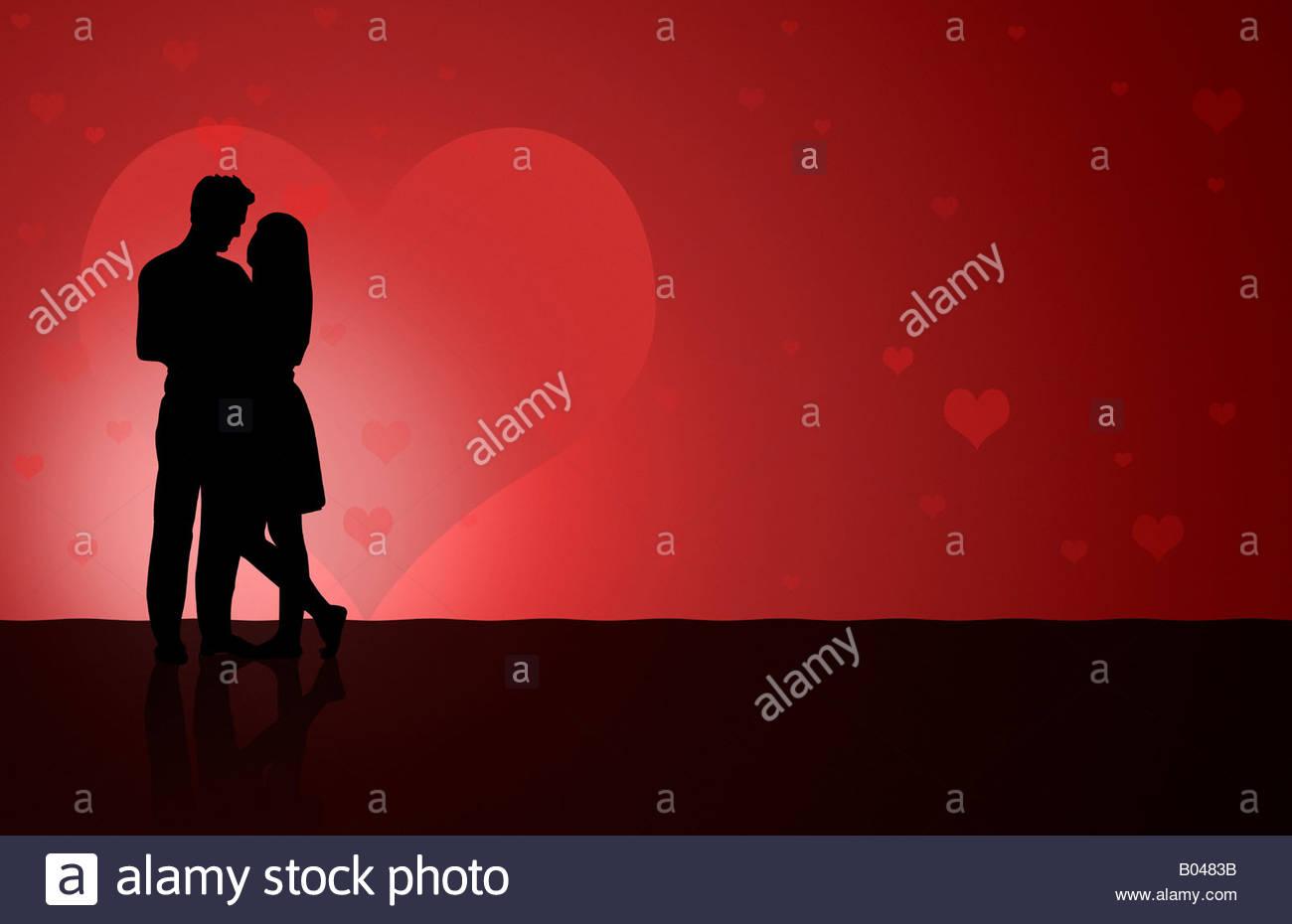Abbildung von wenigen Silhouette Tanz Stockbild