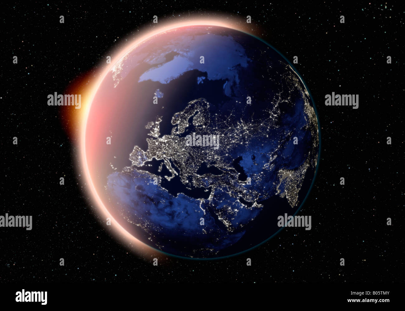 Satellitenbild Der Erde Europa In Der Nacht Stockfoto Bild