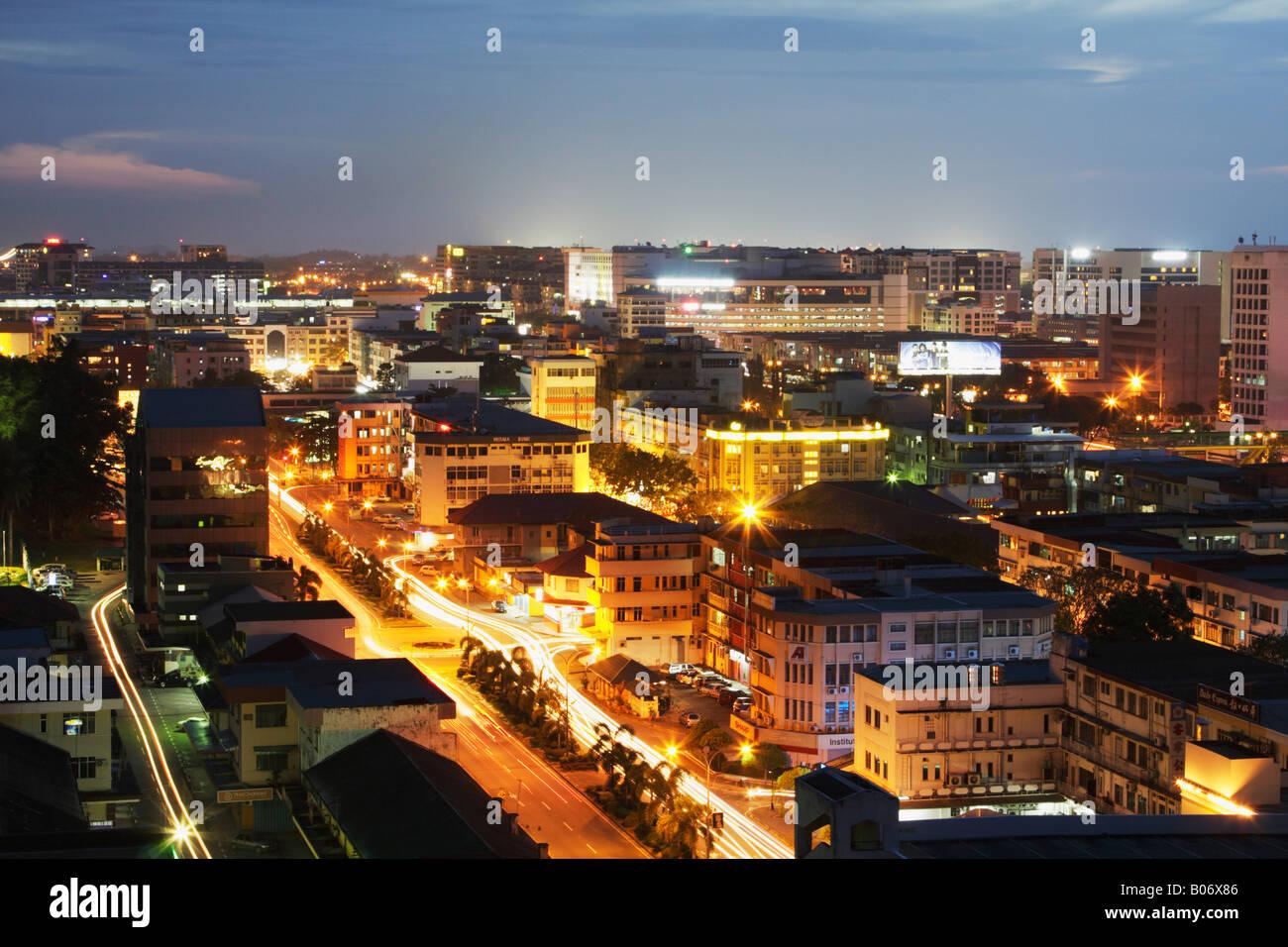 Nachtansicht Von Kota Kinabalu Sabah Malaysia Borneo Stockfoto