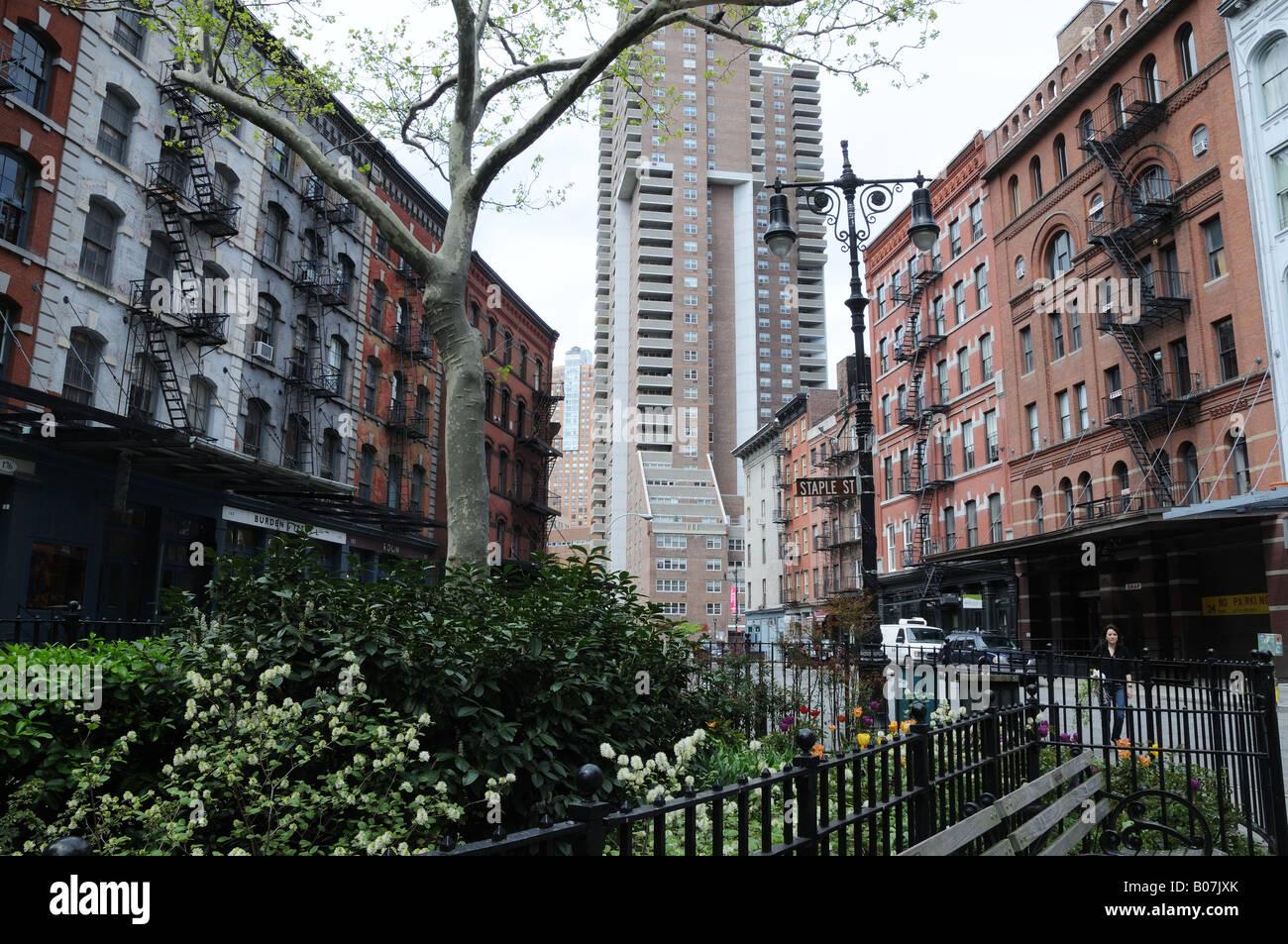 Tribeca in Lower Manhattan. Die älteren Gebäude gehörte einst Großhandel Lebensmittelunternehmen Stockbild