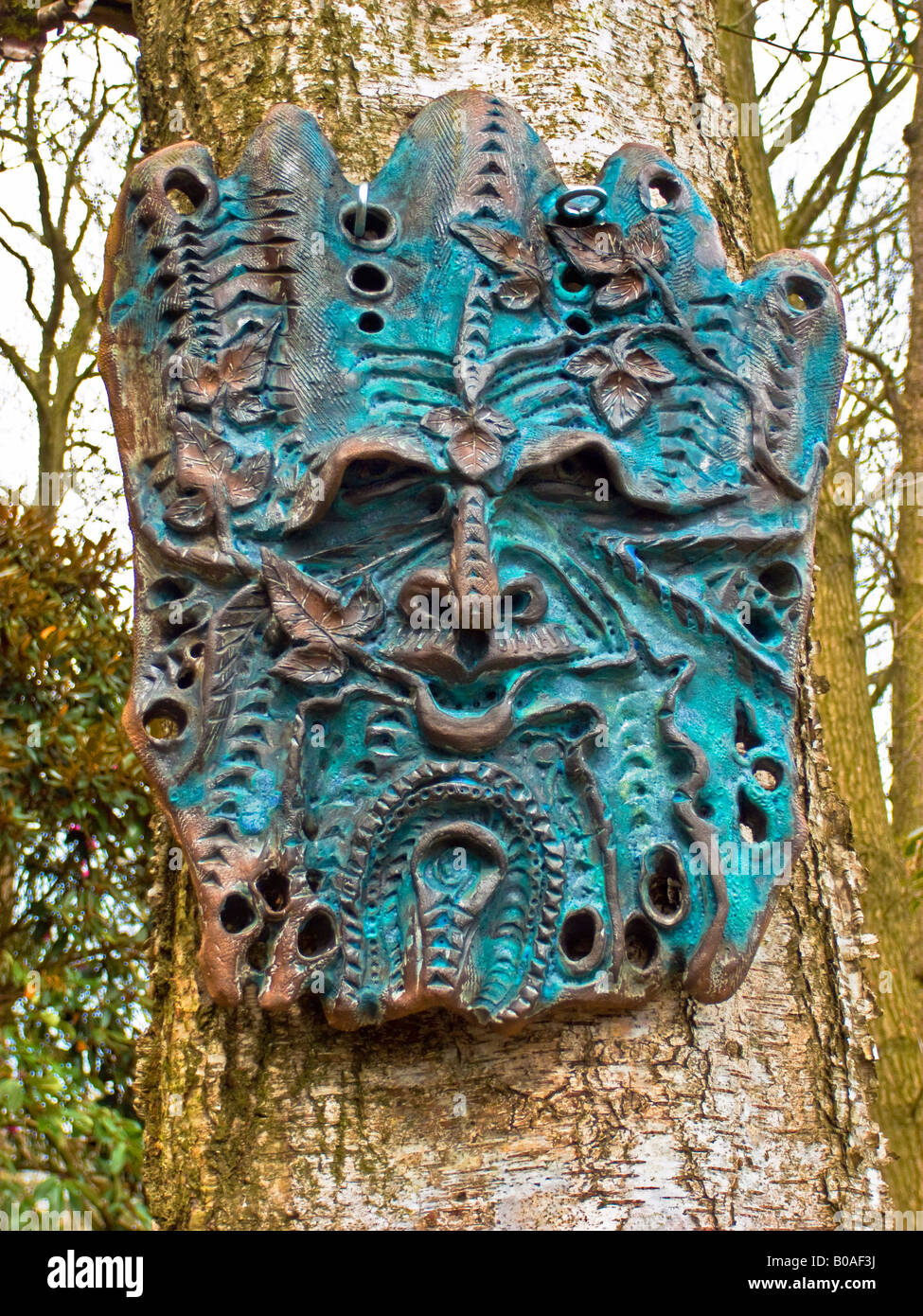 Der Grüne Mann Skulptur von Unbekannter Künstler Stockbild
