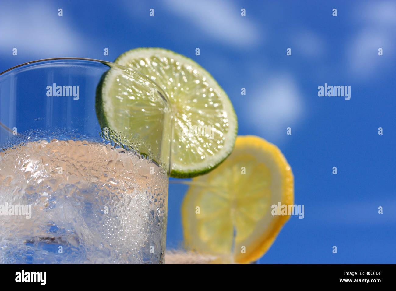 Gläser Wasser mit Eis, Zitrone und Limette Stockbild