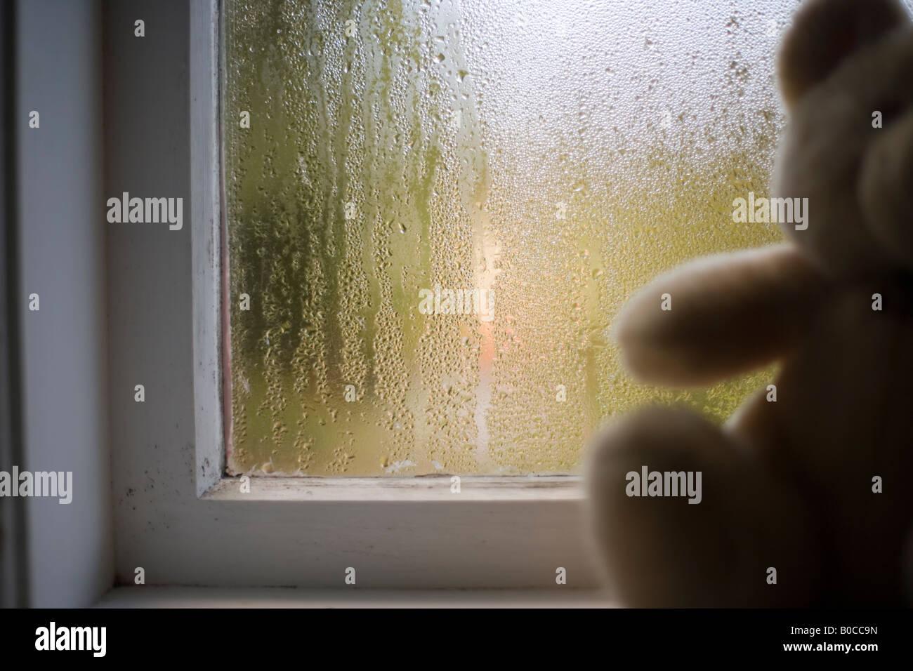 Teddy Bär sitzt am Fenster im Kinderzimmer mit viel Kondenswasser Stockbild