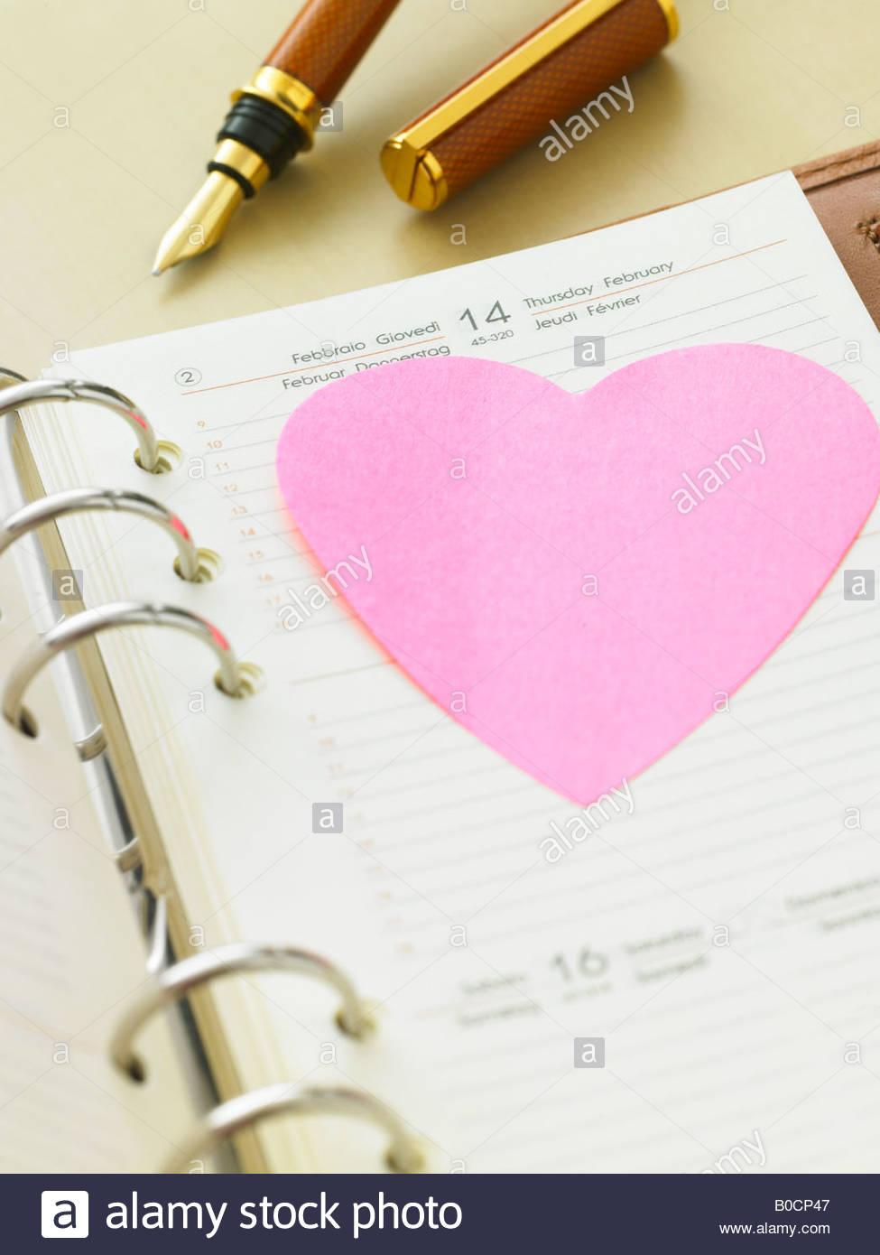 Kalender Mit Valentinstag Datum Stockbild