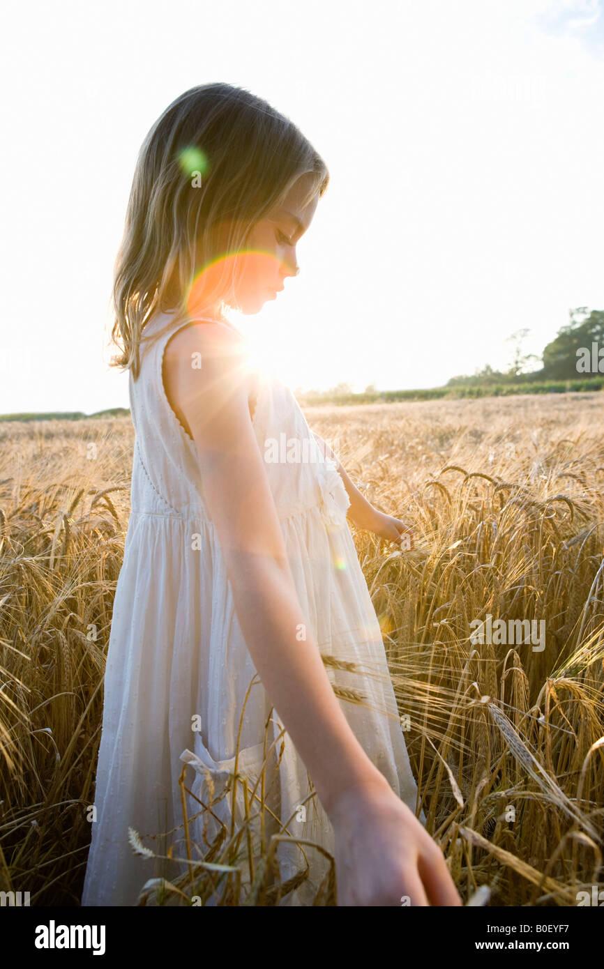 Mädchen zu Fuß im Maisfeld, Blendenfleck Stockbild