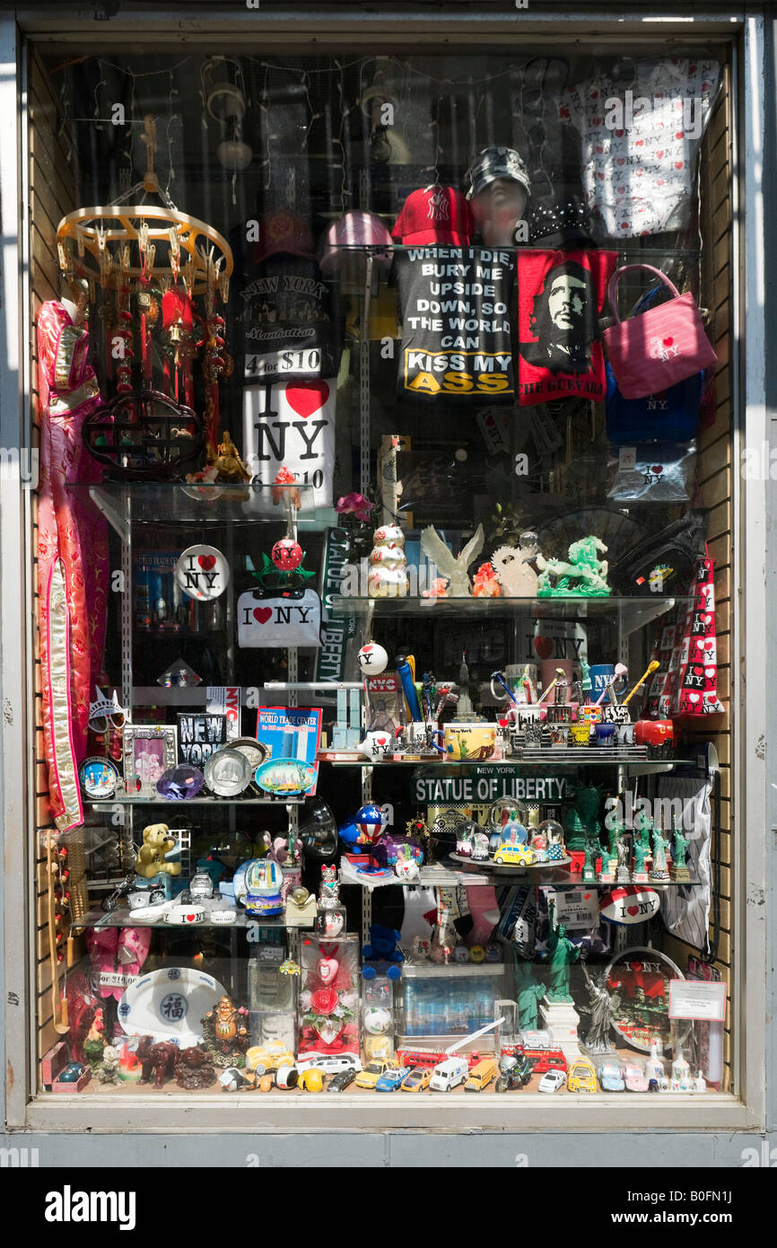 Souvenir-Shop am Broadway, Tribeca und Soho, Lower Manhattan, New York City Stockbild