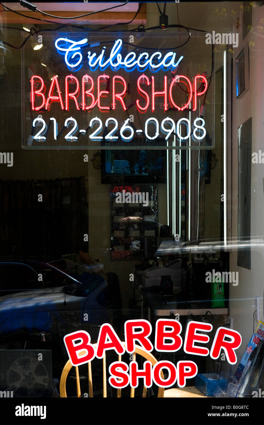 Barber Shop in Tribeca, Lower Manhattan, New York City, New York City Stockbild