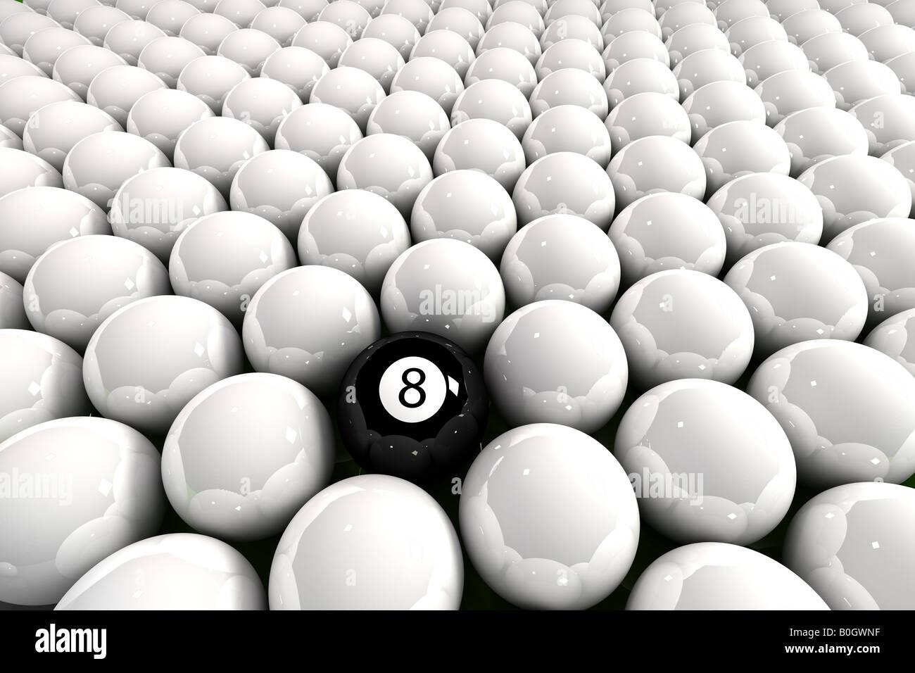 Eight Ball umgeben von weißen Billardkugeln Stockbild