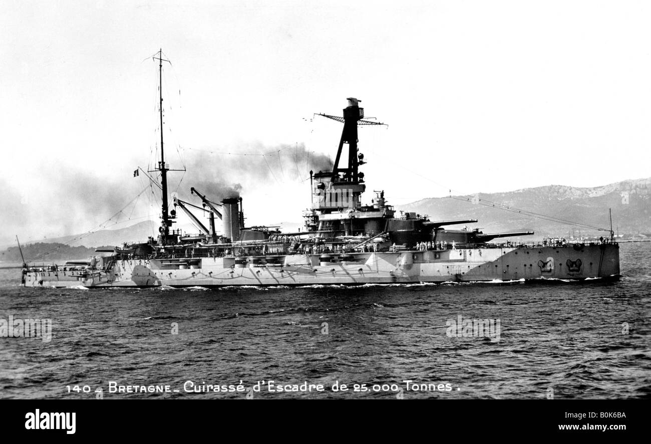 """""""Bretagne"""" französische Dreadnought von 25.000 Tonnen, c1915-1940. Künstler: unbekannt Stockbild"""