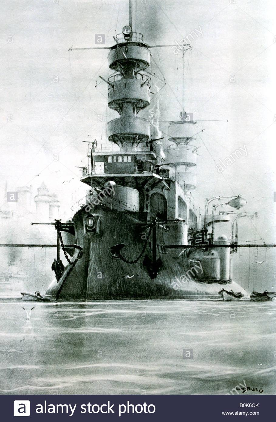 "Französisches Schlachtschiff ""Charles Martel"", 1897 (20. Jahrhundert). Künstler: Albert Sebille Stockbild"