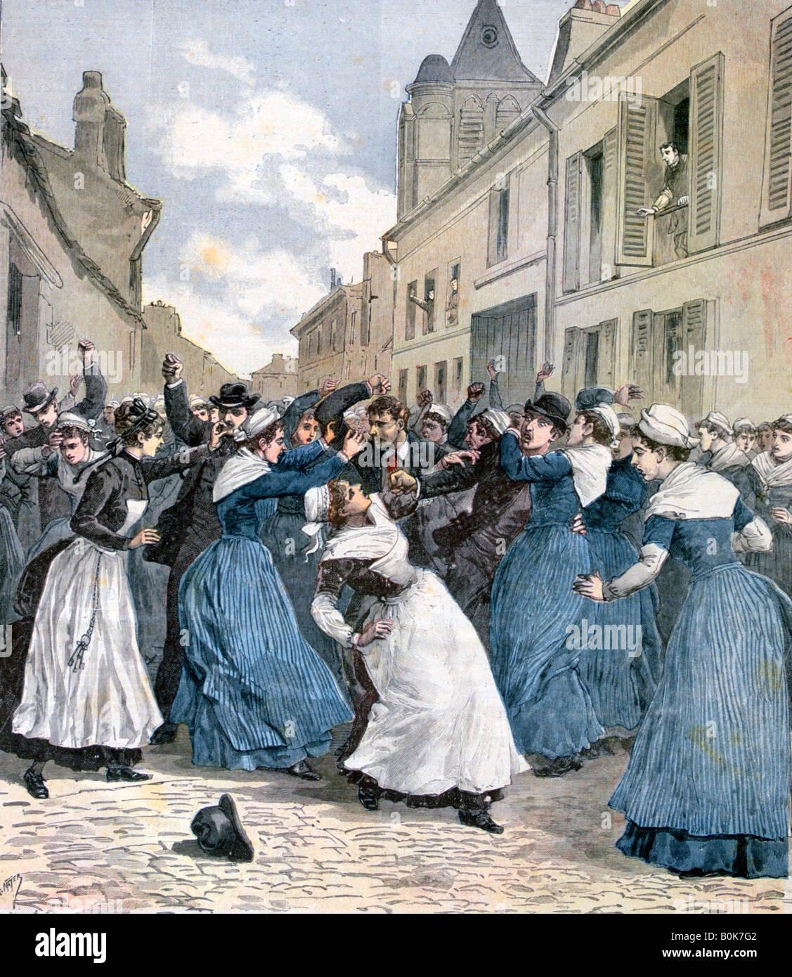 Die Aufnahme von Geisteskranken in Villejuif, Paris, 1891. Künstler: Henri Meyer Stockbild