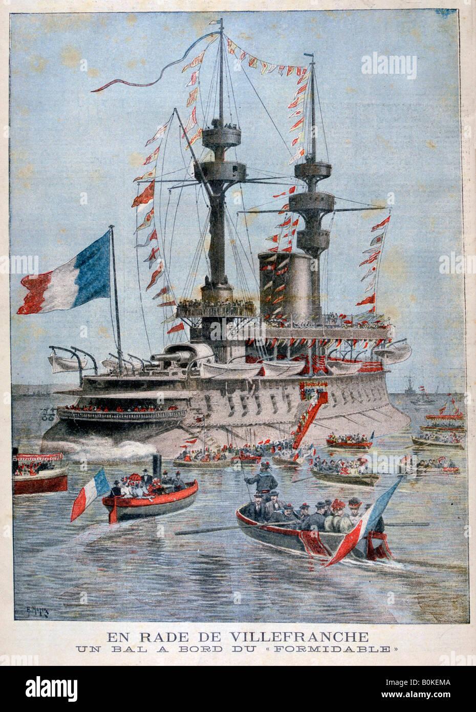 """Ein Ball an Bord das Schlachtschiff """"Formidable"""", Hafen, Frankreich Villefranche, 1896. Künstler: Stockbild"""