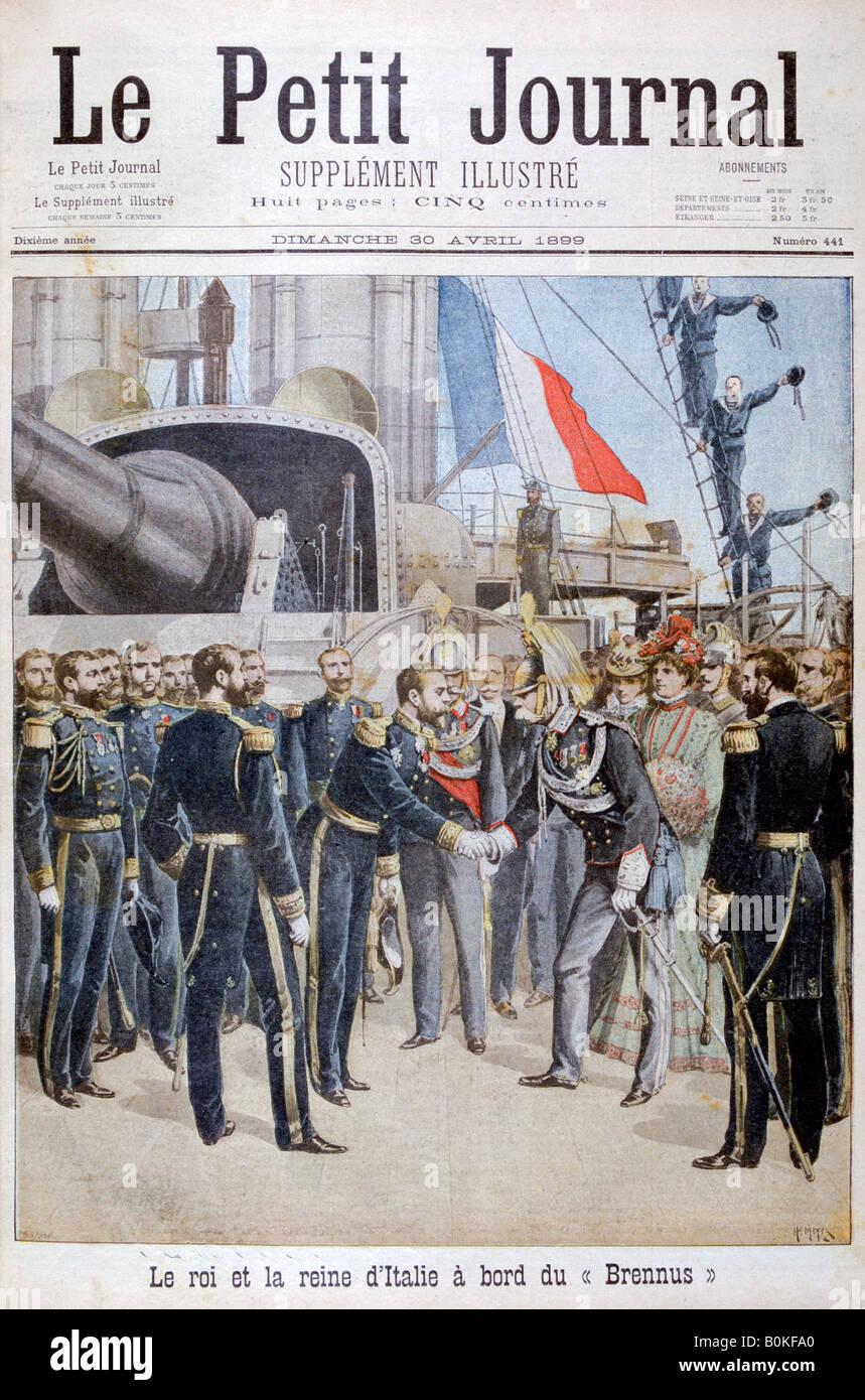 """Der König, die Königin von Italien an Bord das französische Schlachtschiff """"Brennus"""", 1899. Stockbild"""