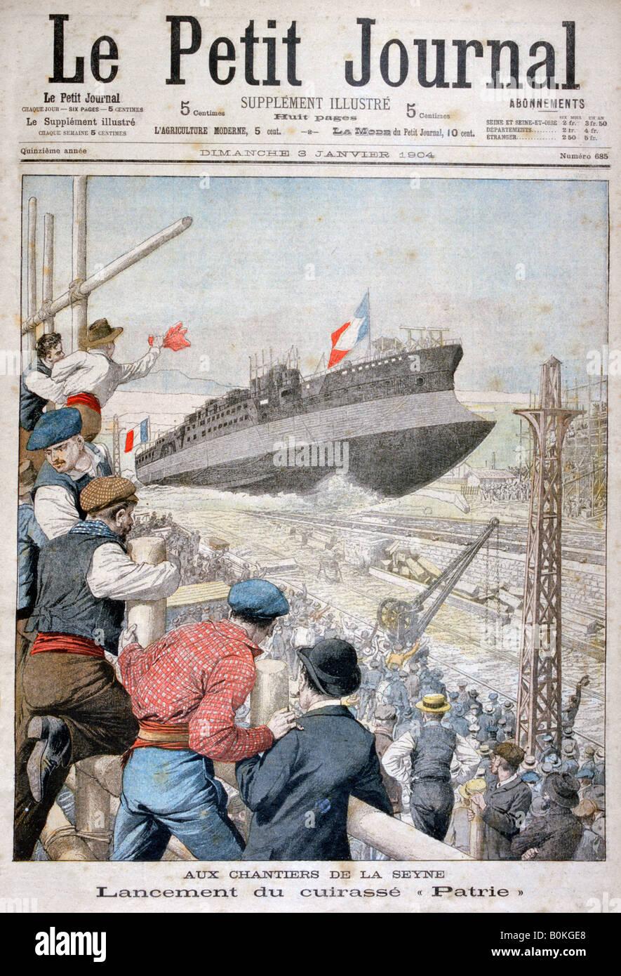 Start des französischen Schlachtschiffs 'Patrie', Toulon, Dezember 1903 (1904).  Künstler: unbekannt Stockbild