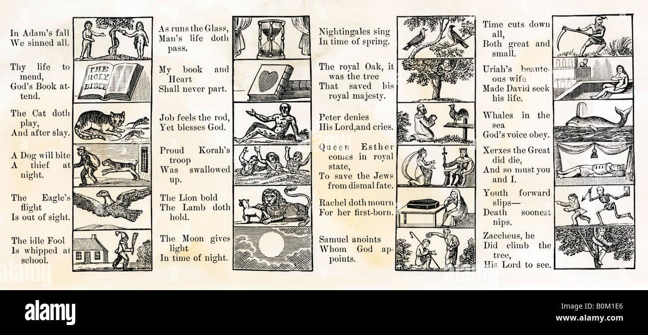 Lektion-Seite in der Ausgabe des New England Primer ca. 1811 Stockbild