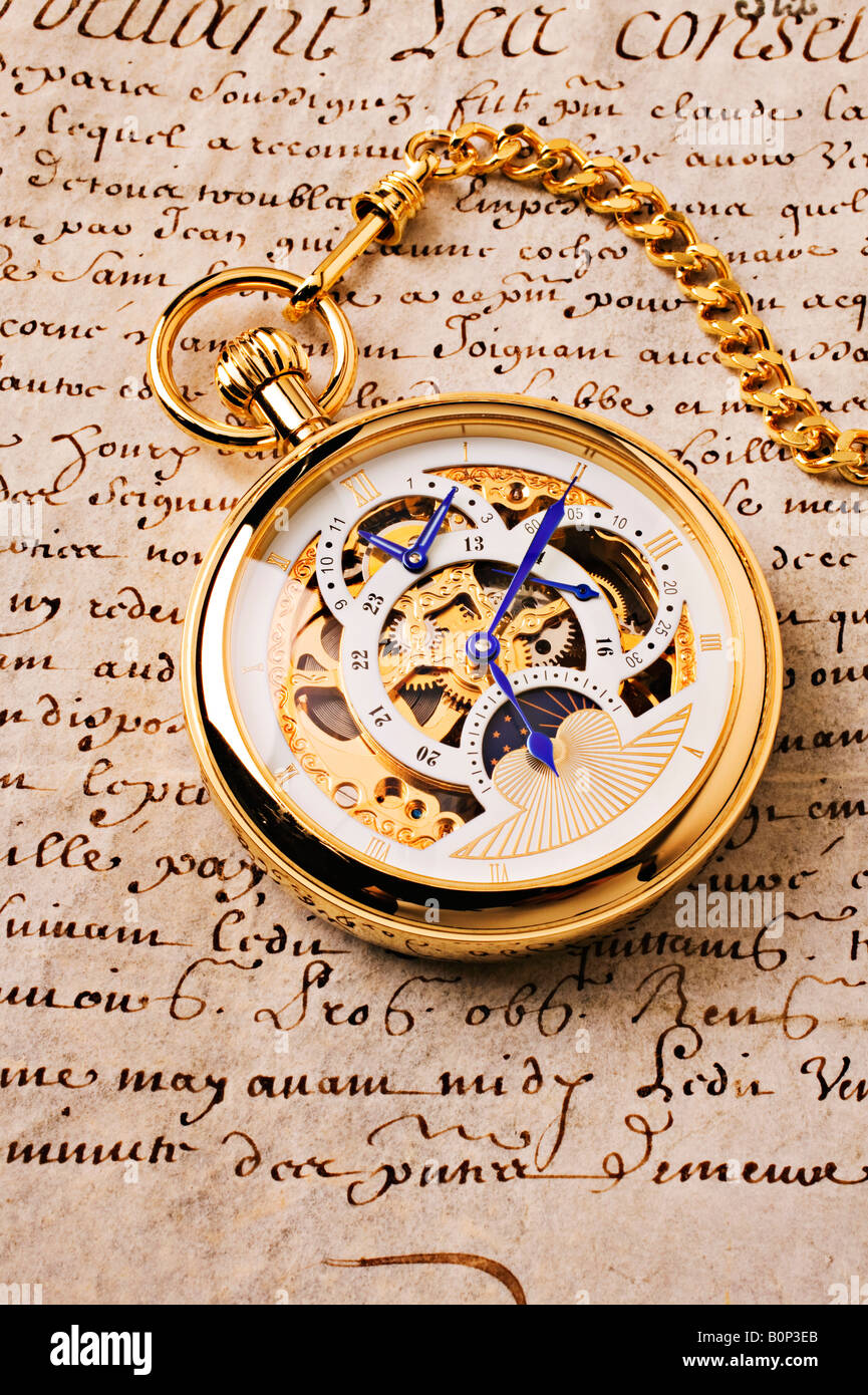 Goldene Taschenuhr Stockbild