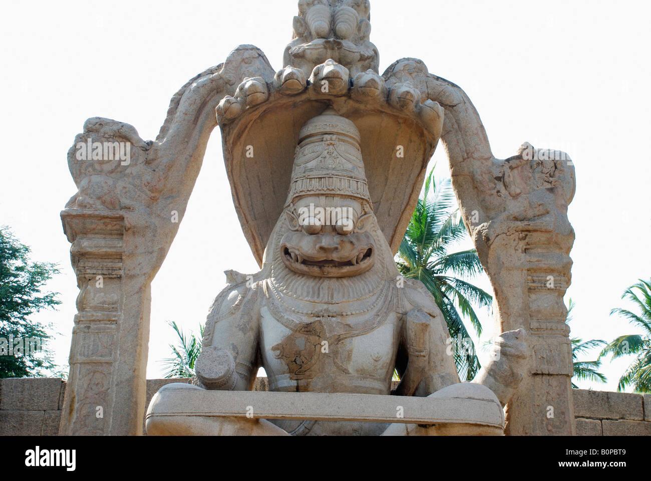 Ugra Narasimha (Narsimha Tempel), Hampi, Karnataka, Indien Stockfoto