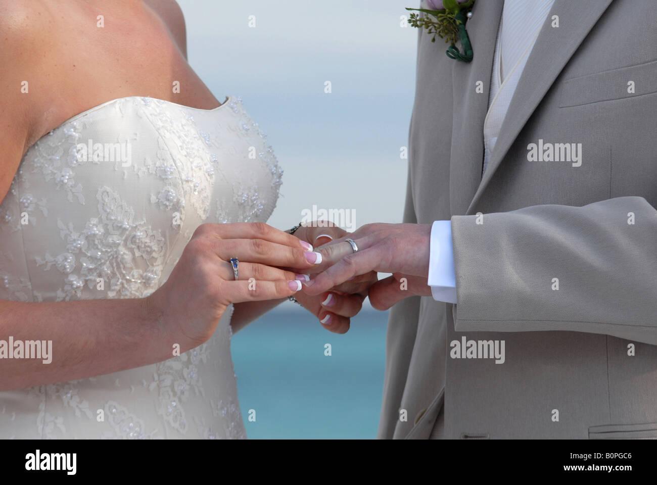 Die Braut Legt Den Hochzeit Ring Auf Ihr Bald Zu Ringfinger Mannes