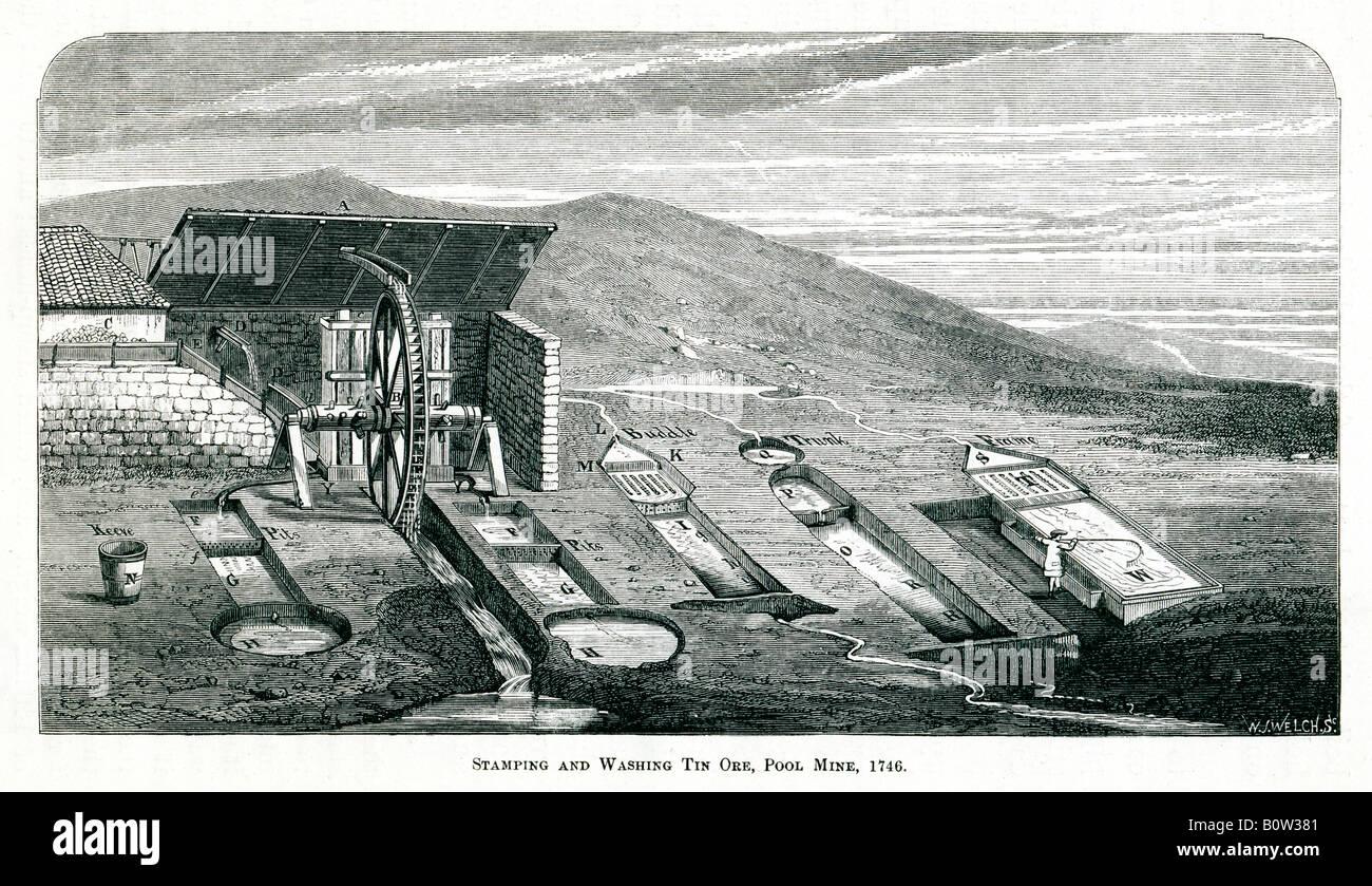 Stanz- und waschen Zinn Erz 1746-Gravur der Wasserkraft in den Bergbau an der Pool-Mine in Cornwall verwendet Stockbild