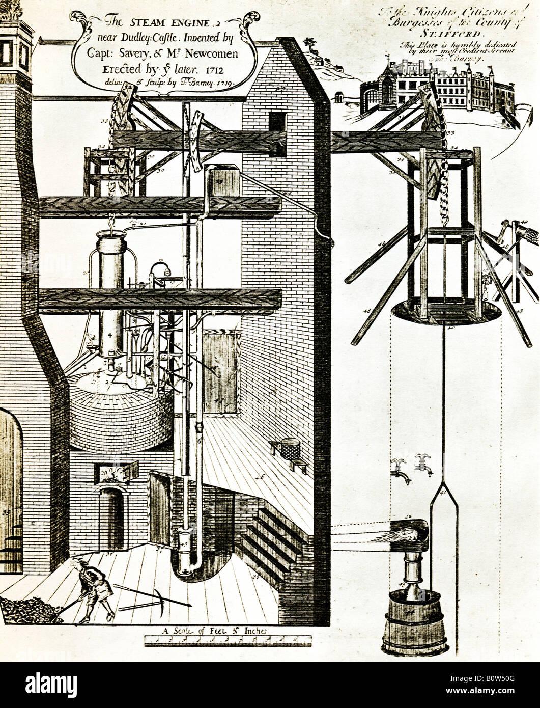 Thomas Newcomen Dampfmaschine 1712 die erste atmosphärische Dampfmaschine in Dudley für das Pumpen von Stockbild