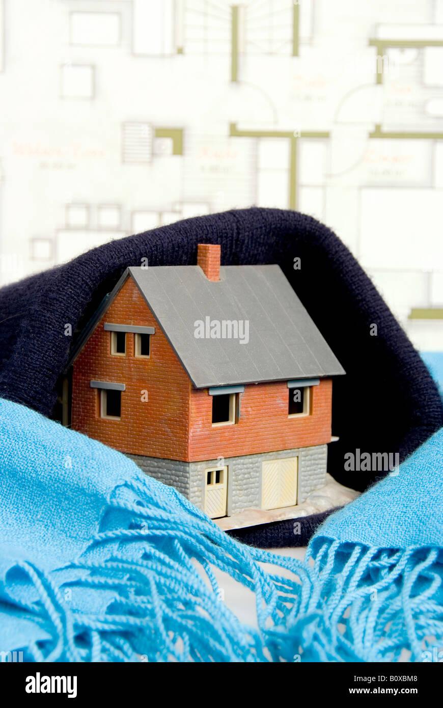 symbolisch für Passiv-Haus, Wärmedämmung Stockbild