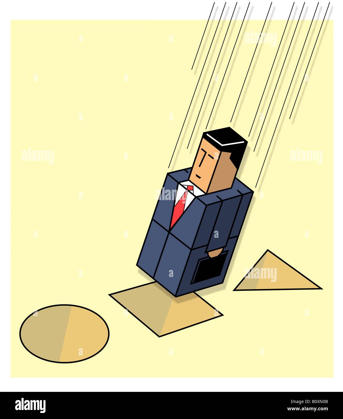 Quadratische Geschäftsmann passend in form Stockbild