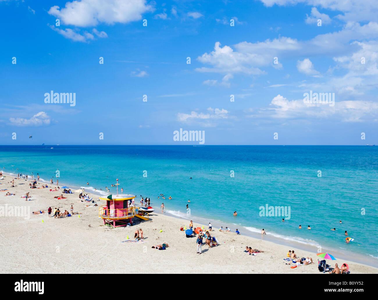 Übersicht von South Beach in Miami Beach, Florida, Vereinigte Staaten Stockbild
