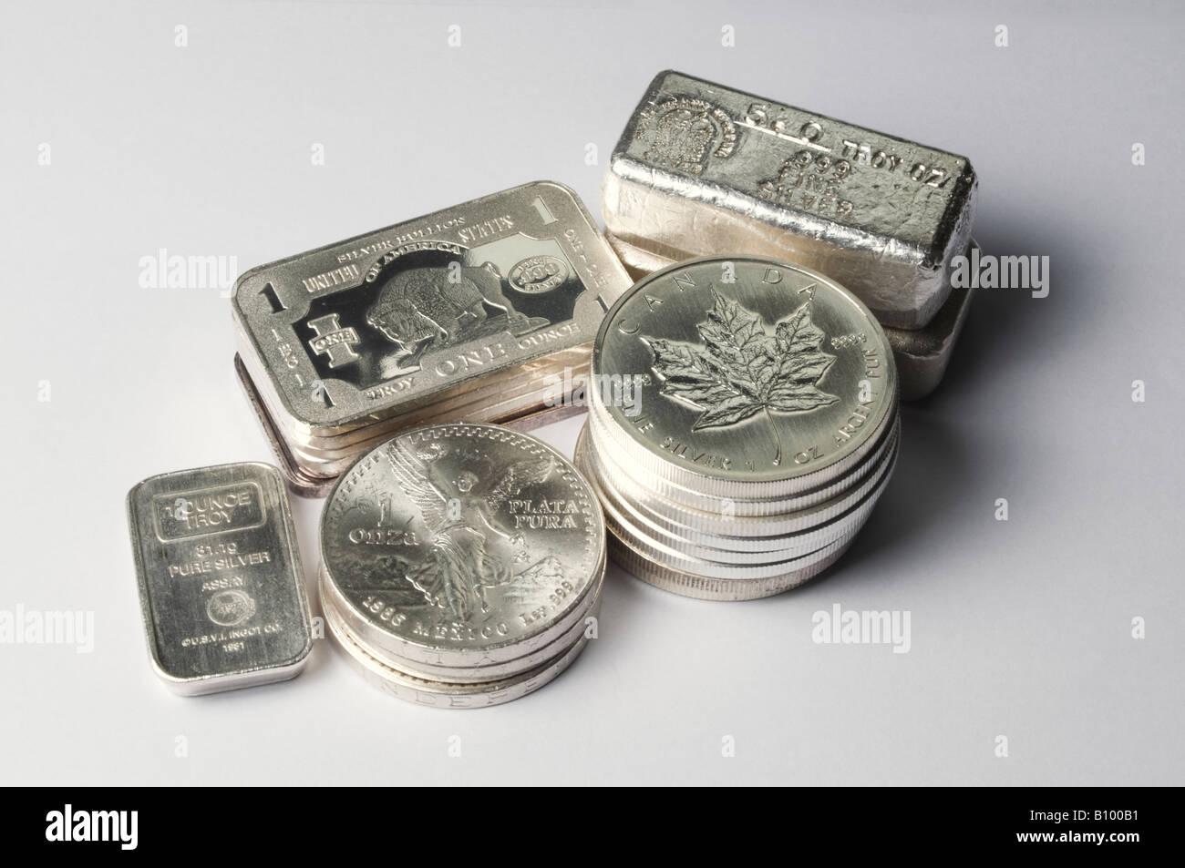 Silberbarren In Bars Münzen Und Barren Stockfoto Bild 17825333