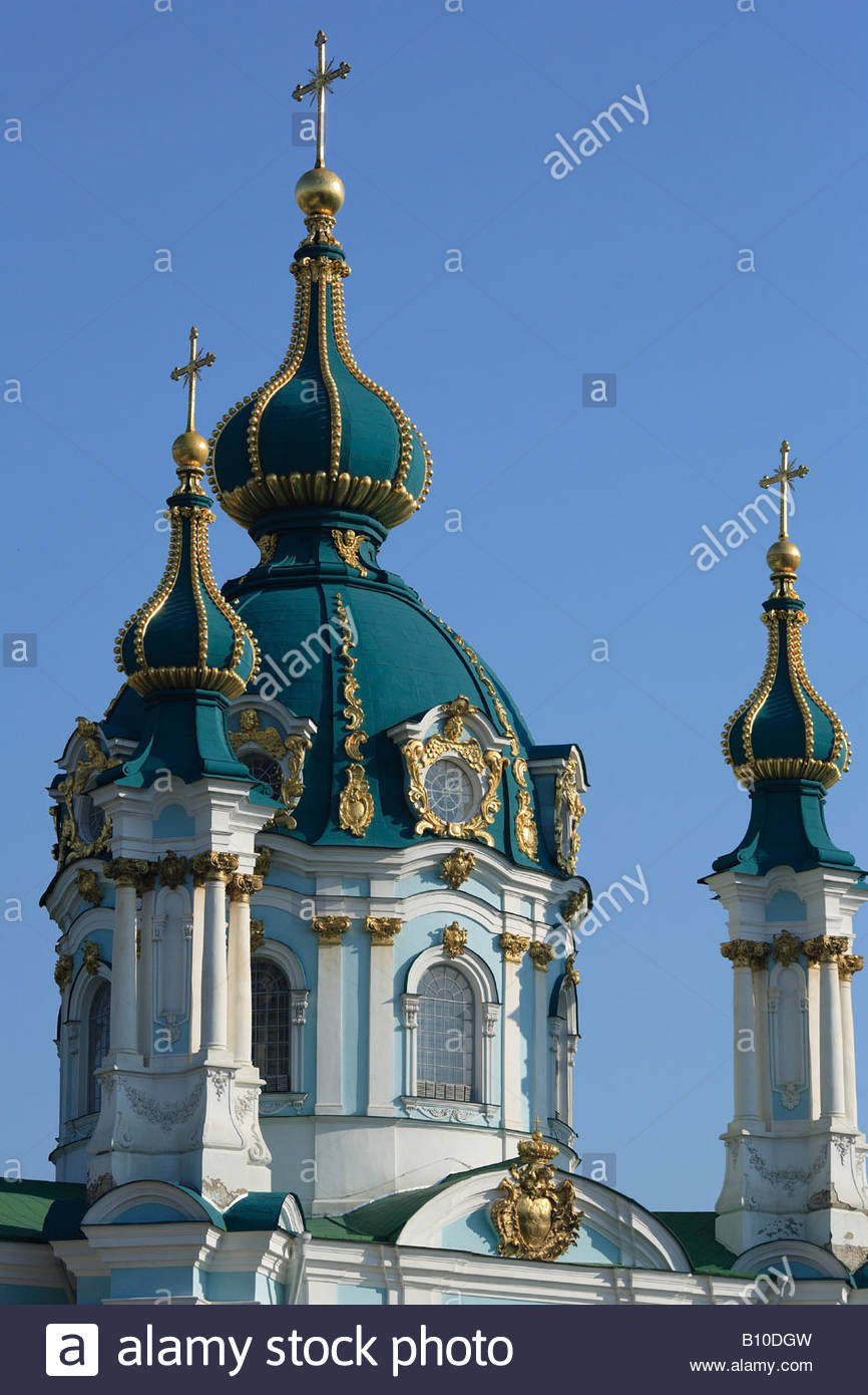 Kirche des Hl. Andreas (18. Jahrhundert), Kiew, Ukraine Stockbild