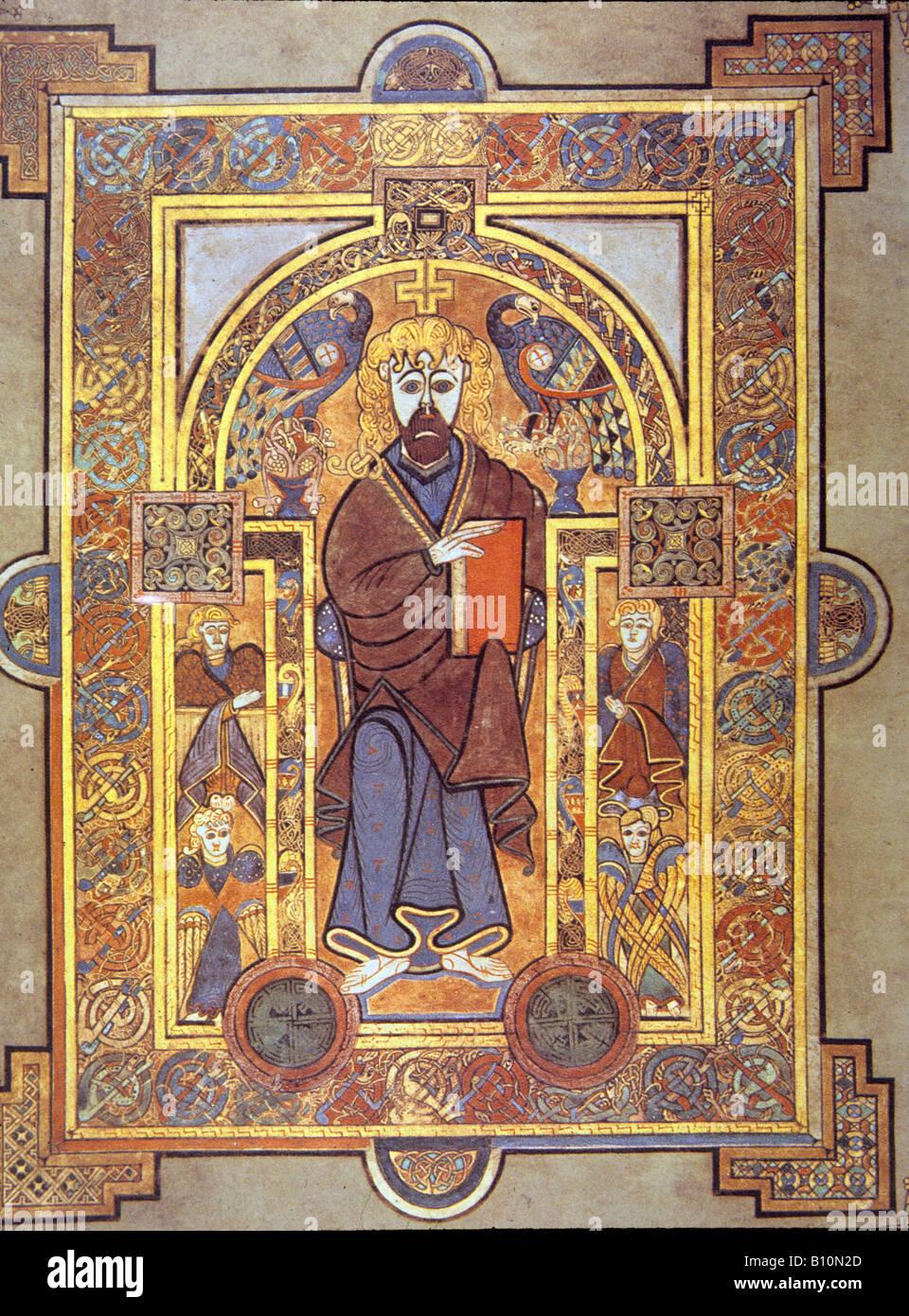 Buch von Kells 8 c Christus aus dem Matthäusevangelium Irland Stockbild