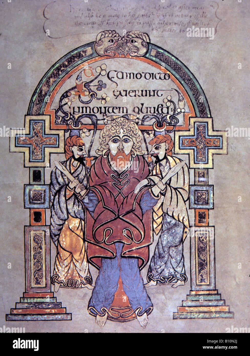 Buch von Kells 8 c der Verhaftung Christi Evangelium des hl. Matthäus Irland Stockbild