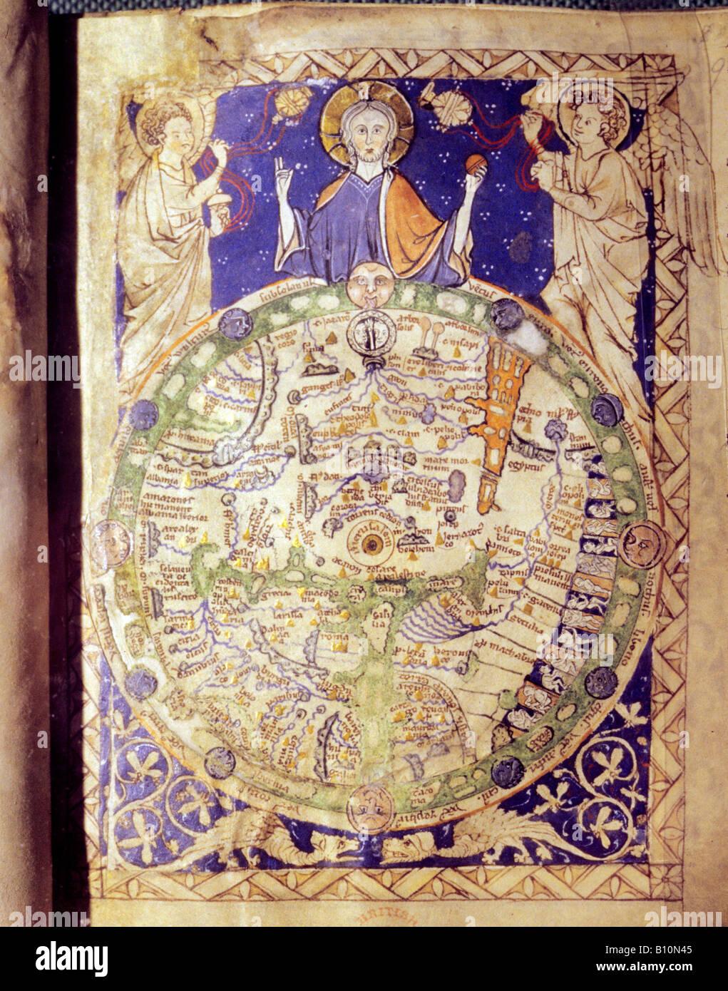 Mittelalterliche Weltkarte mit Jerusalem in der Mitte 1275 Stockbild