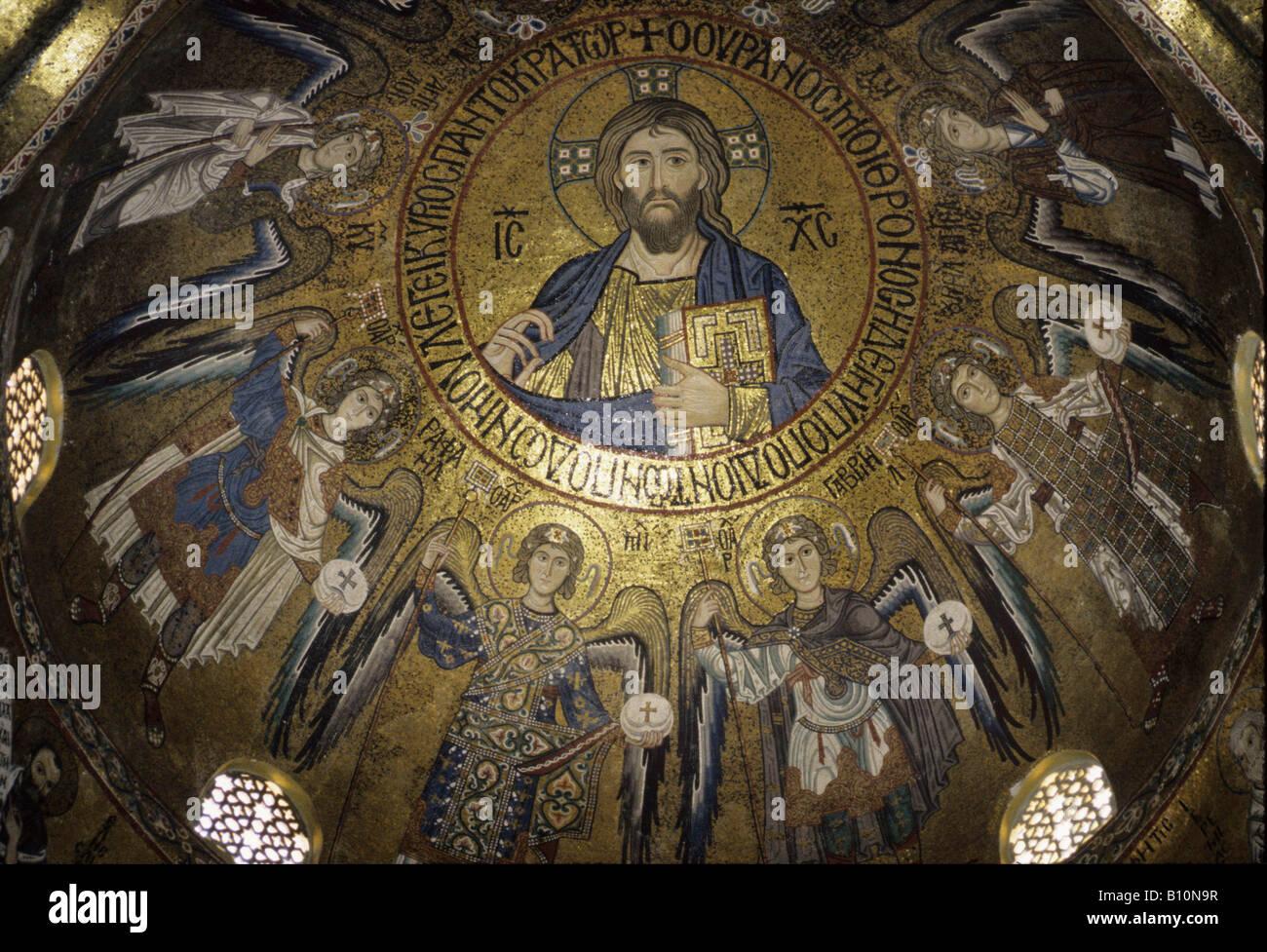 Christus Pantokrator Palatin Kapelle Palermo Sizilien byzantinische Copyright: AAA Sammlung Ltd Stockbild