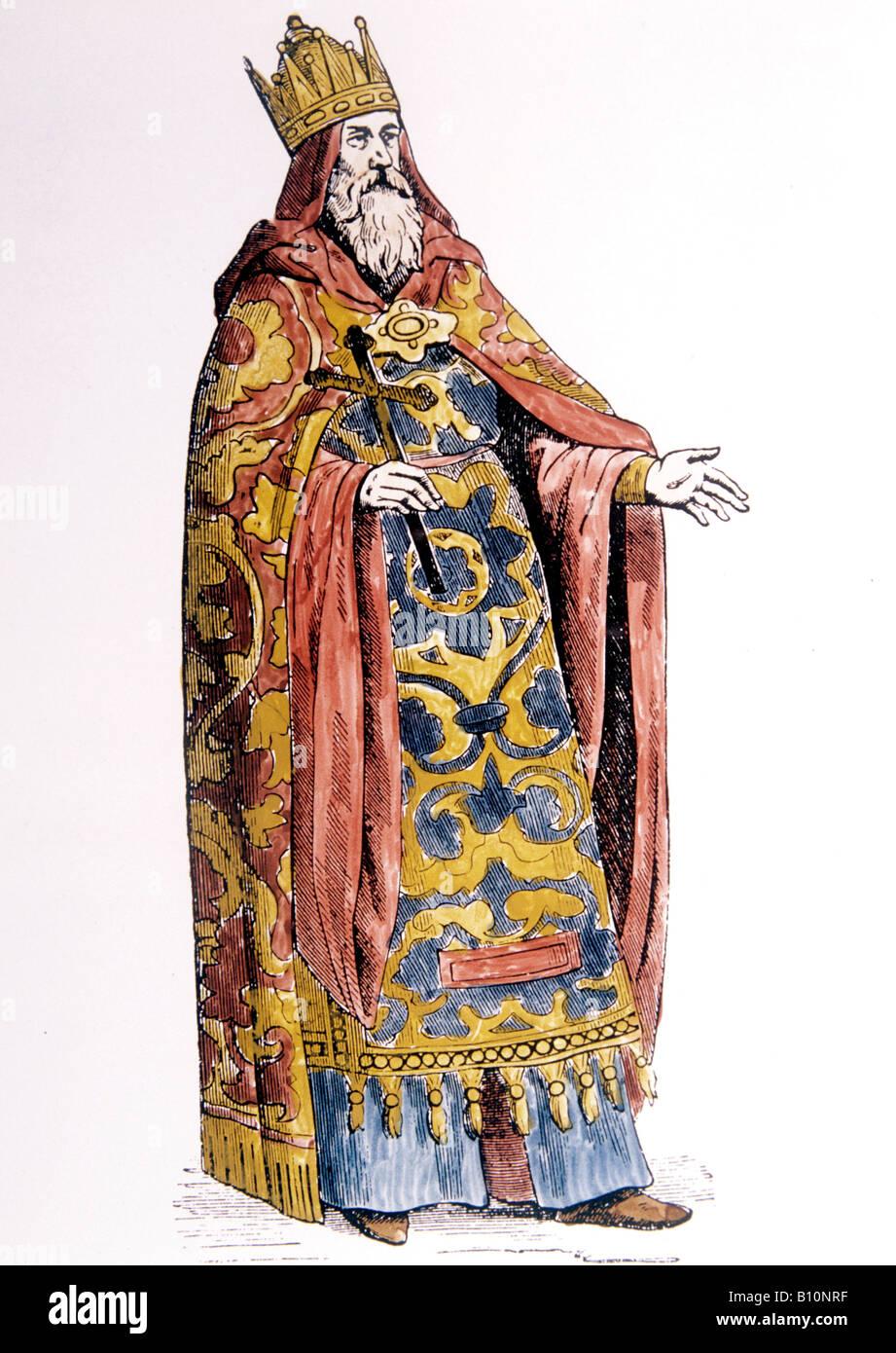 Prester John mittelalterlichen Holzschnitt alte Kunst & Architektur Sammlung Stockbild