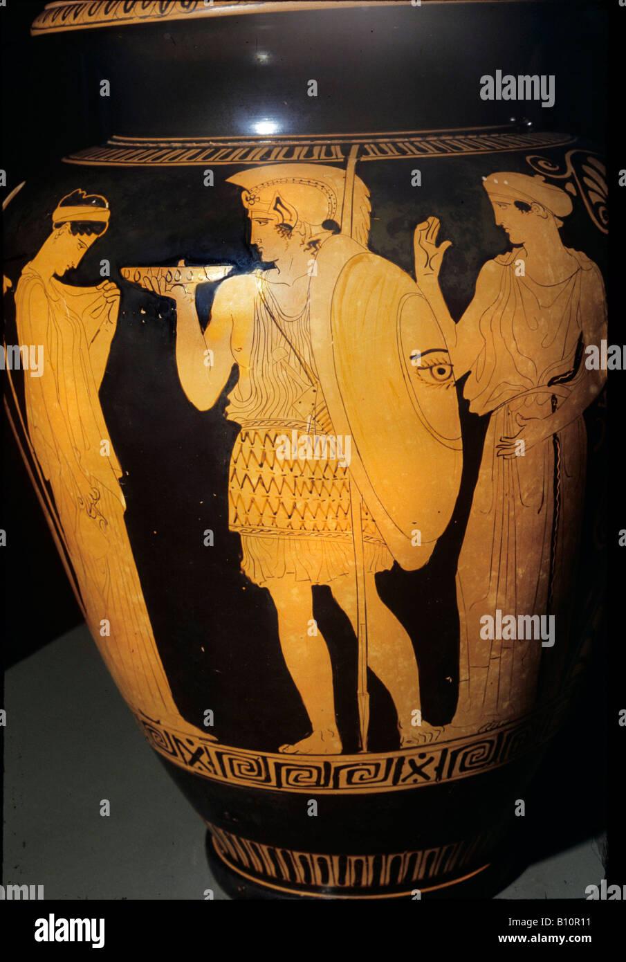 Krieger das Haus verlassen. Dachgeschoss Rot - Abbildung stamnos, 440 - 430 v. Chr.. Von Vulci. Stockbild