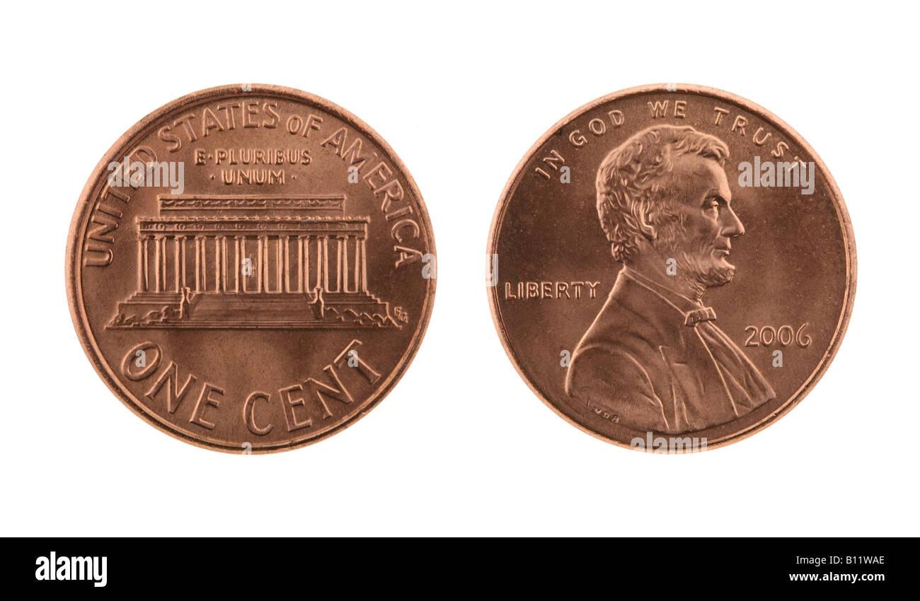 Usa Ein Us Cent Münze Isoliert Auf Weiss Vorder Und Rückseite