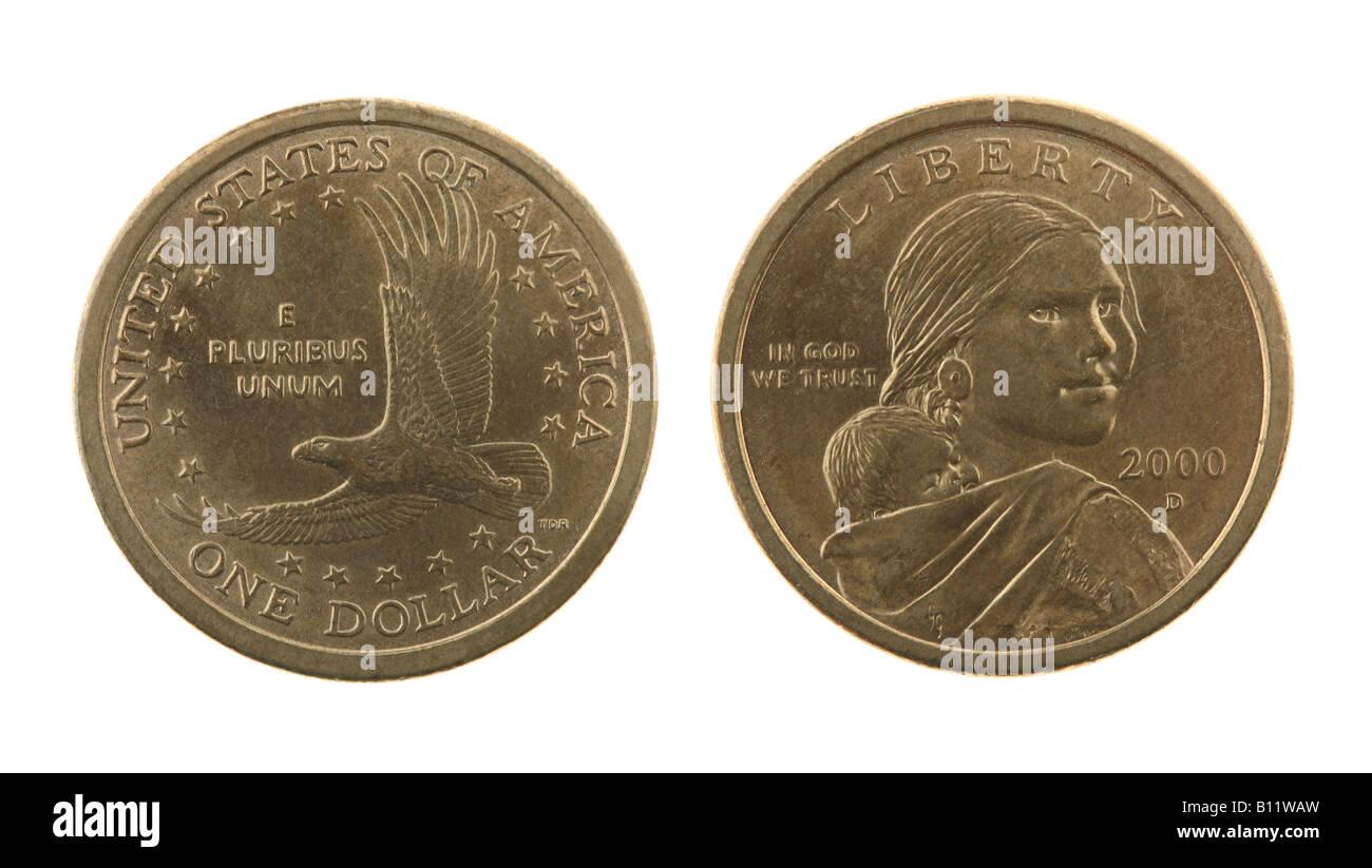 Us Sacagawea Dollar Münze Isoliert Auf Weiss Vorder Und Rückseite