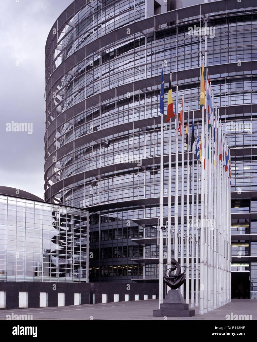 Straßburg, Europaparlament, Eingangsbereich Stockbild