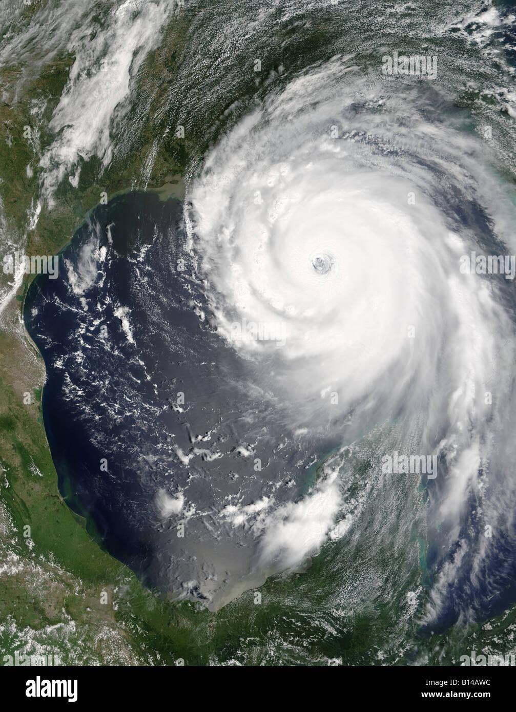 Hurrikan Katrina 28. August 2005 NASA-Foto Stockbild