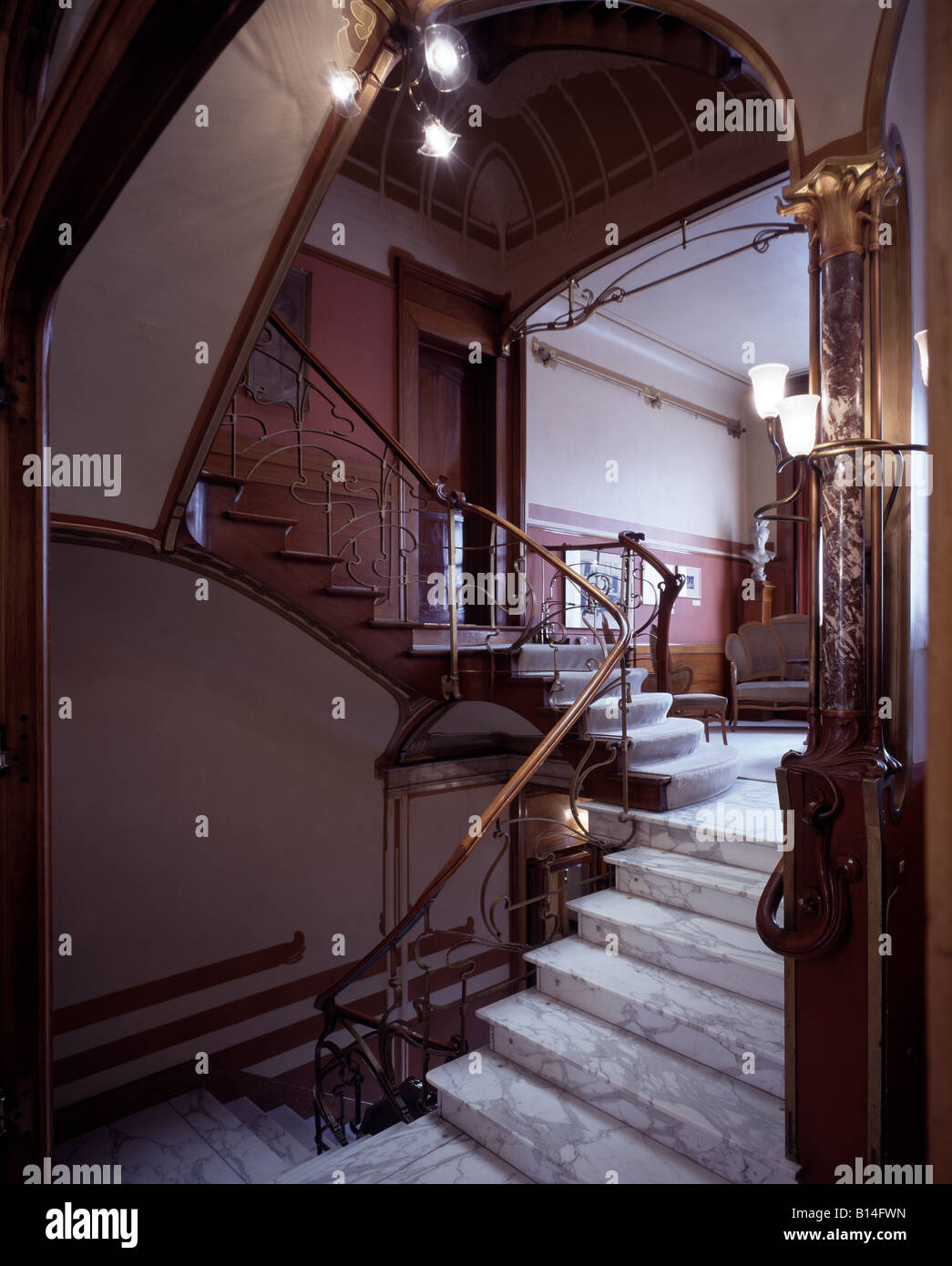 Brüssel, Horta Museum, Rue Américaine 25, Interieur, Treppenhaus Stockbild