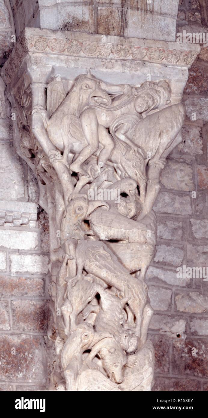 Eglise Sainte-Marie, Interieur-Tor, Detail Trumeau, Souillac, Partie haute Stockbild