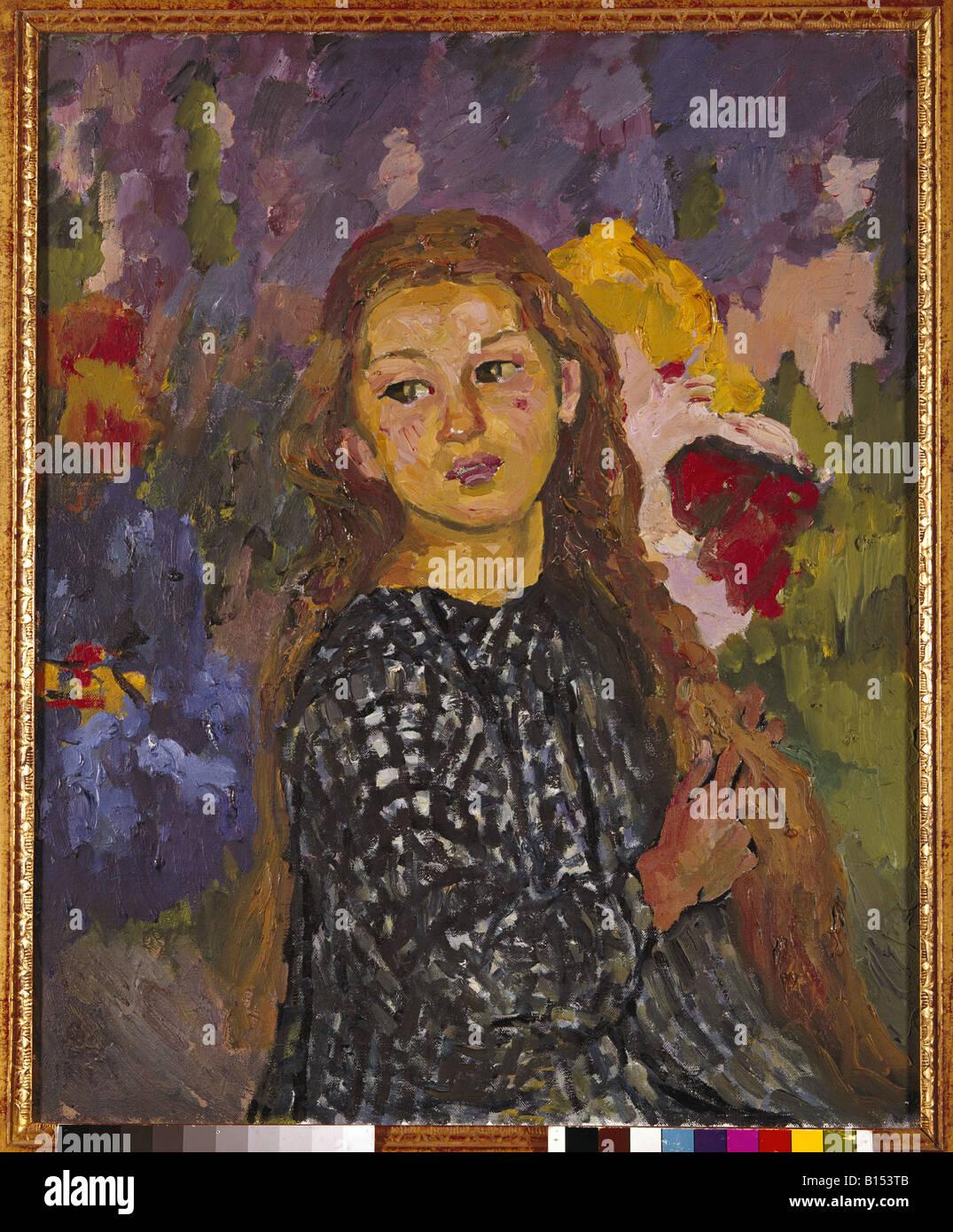 """Bildende Kunst, Giacometti, Giovanni (1868-1933), der Malerei, der """"Portrait von Ottilia Giacometti"""", Stockbild"""