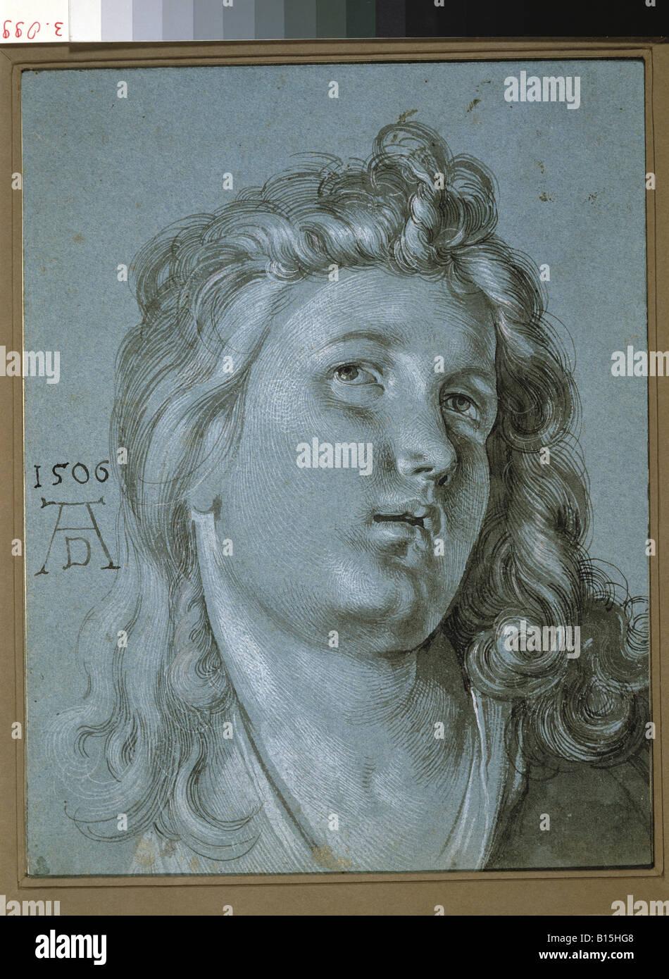 Bildende Kunst, Dürer, Albrecht (1471-1528), Kopf eines Engels, Zeichnung, 1506, Renaissance, Deutschland, Signatur,Stockfoto