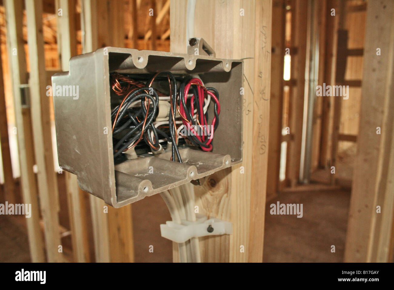 Verkabelung Steckdose im Haus Neubau Stockfoto, Bild: 17991539 - Alamy