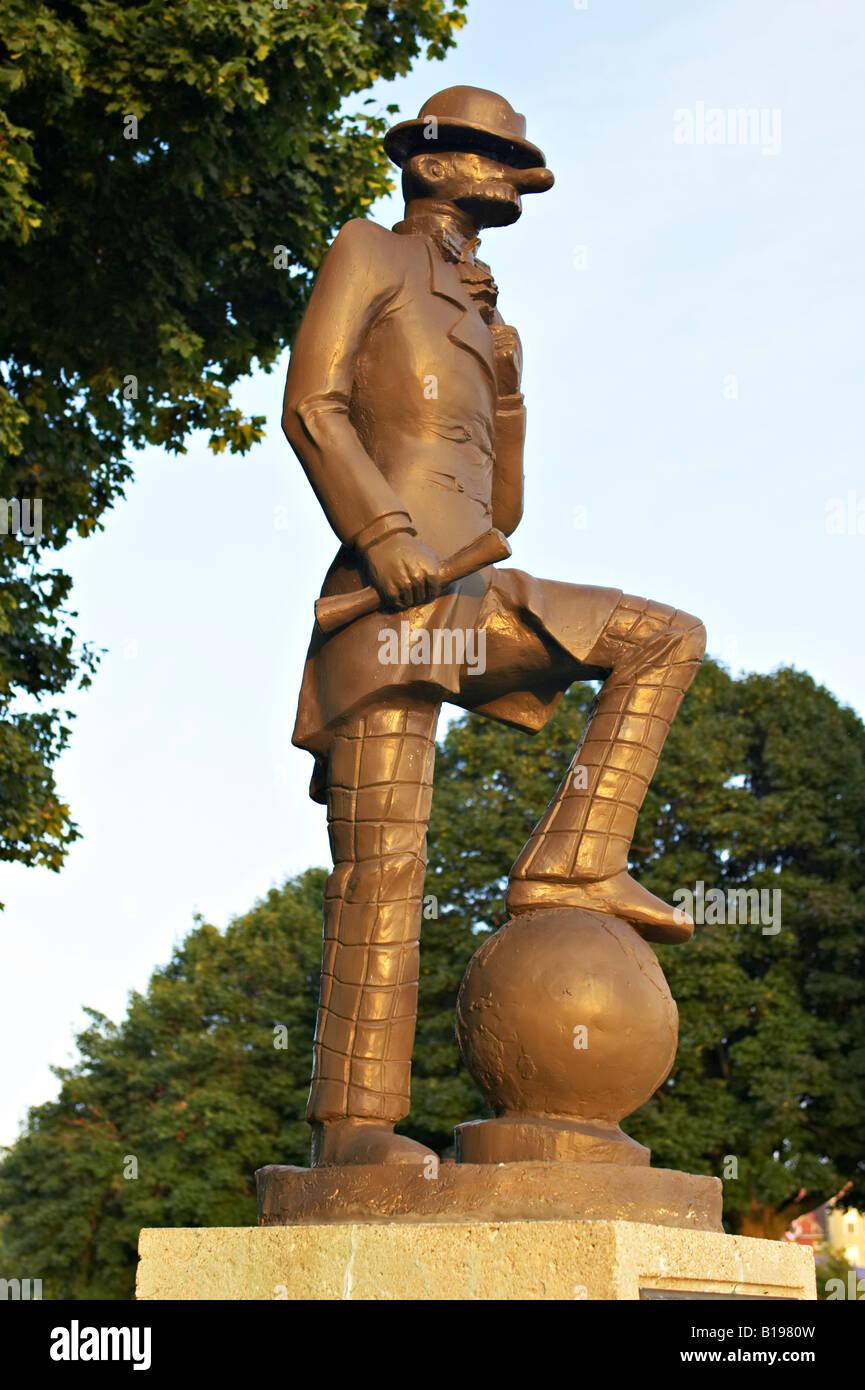 WISCONSIN Genfersee Andy Gump Statue zu Ehren des Comic-Strip Schöpfer Sidney Smith ersten täglichen Comic Stockbild