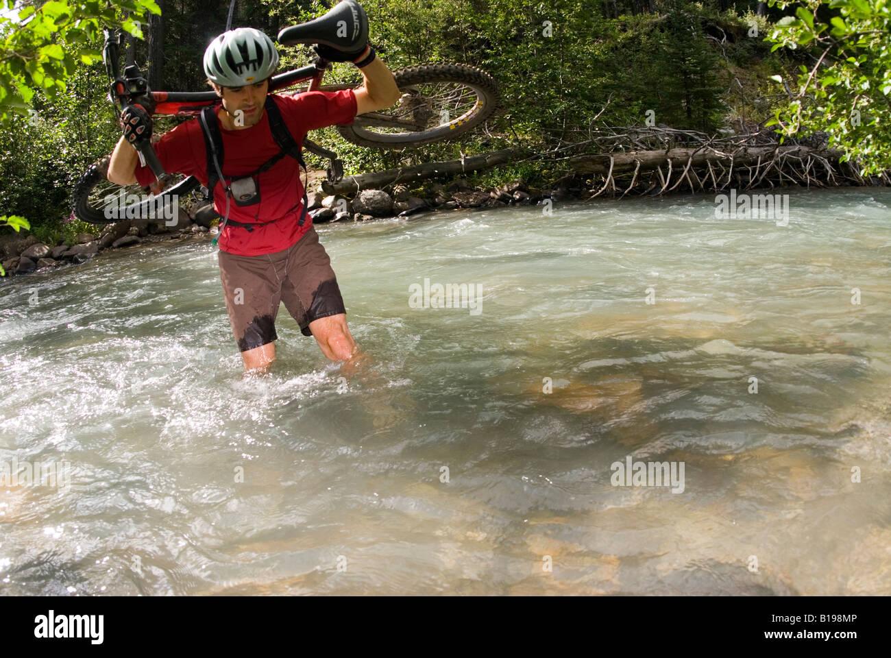 Mountainbiker ist einer der vielen Kreuzungen des Baches entlang Tyaughton Creek, südlichen Chilcotin Mountains, Stockbild