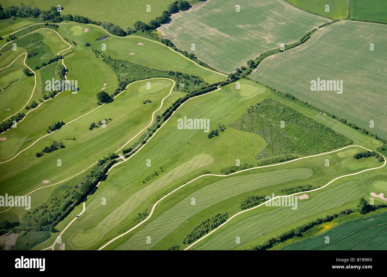 Golfplatz aus der Luft, North Leeds, West Yorkshire, Nordengland Stockbild