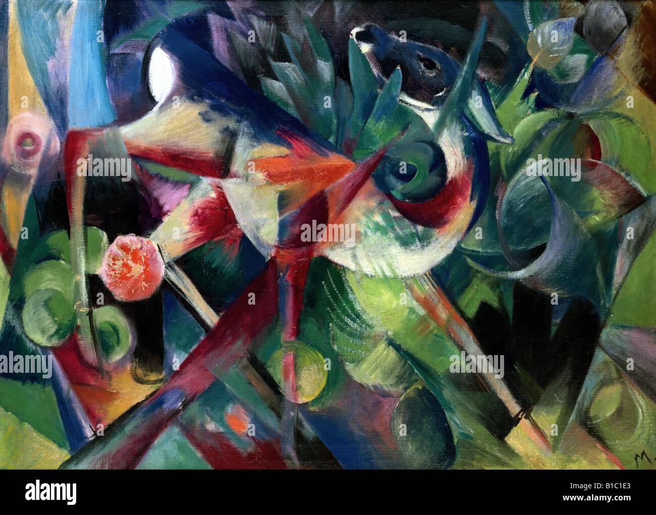 """Bildende Kunst, Marc, Franz, (1880-1916), Malerei, """"Reh Im Blumengarten"""", (""""ein Reh im Blumengarten""""), Stockbild"""